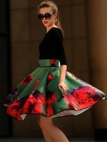 V Neck Slim Top With Florals Flare Skirt