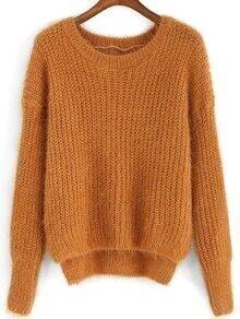 Round Neck Dip Hem Fuzzy Sweater