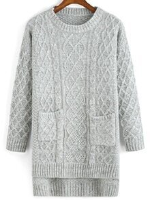 Cable Knit Pockets High Low Sweater