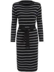 Round Neck Striped Bow Black Sweater Dress