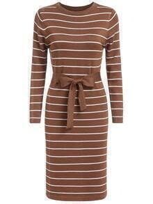 Round Neck Striped Bow Khaki Sweater Dress