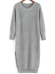 Slit High Low Grey Sweater Dress