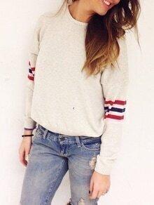 Round Neck Striped Loose White Sweater