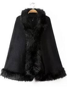 Faux Fur Cape Black Coat