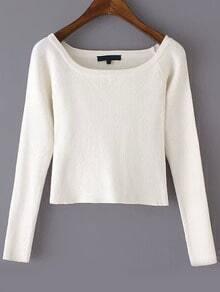 Boat Neck Crop White T-shirt