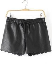 Elastic Waist Hollow Shorts