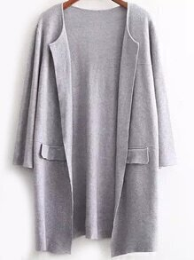 Open Front Pockets Grey Coat