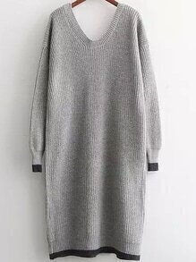 V Neck Loose Grey Sweater