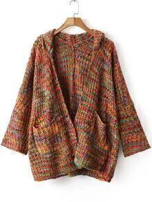 Hooded Chunky Knit Pockets Coat