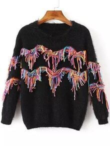 Tassel Fuzzy Black Sweater