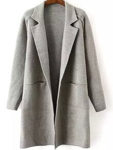 Lapel Pockets Grey Coat