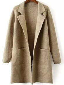 Lapel Pockets Khaki Coat