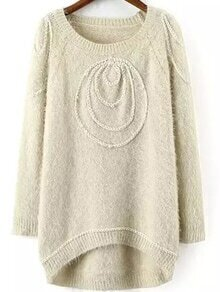 Bead Fuzzy High Low Apricot Sweater