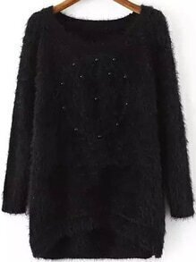 Bead Fuzzy High Low Black Sweater