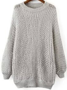 Hollow Dolman Grey Sweater