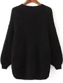 Hollow Dolman Black Sweater