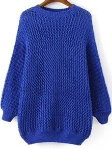 Hollow Dolman Blue Sweater