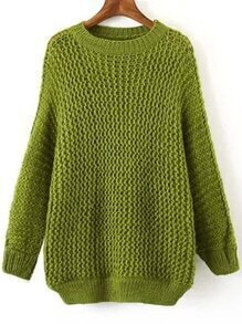 Hollow Dolman Green Sweater