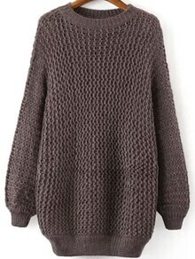 Hollow Dolman Brown Sweater