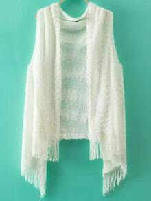Tassel White Sweater Vest