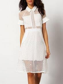 White Shutter Collars Transparent Sexual Slutty Ethereal Short Sleeve Hollow Sheer Dress
