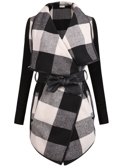 Black White Long Sleeve Plaid Belt Coat pictures