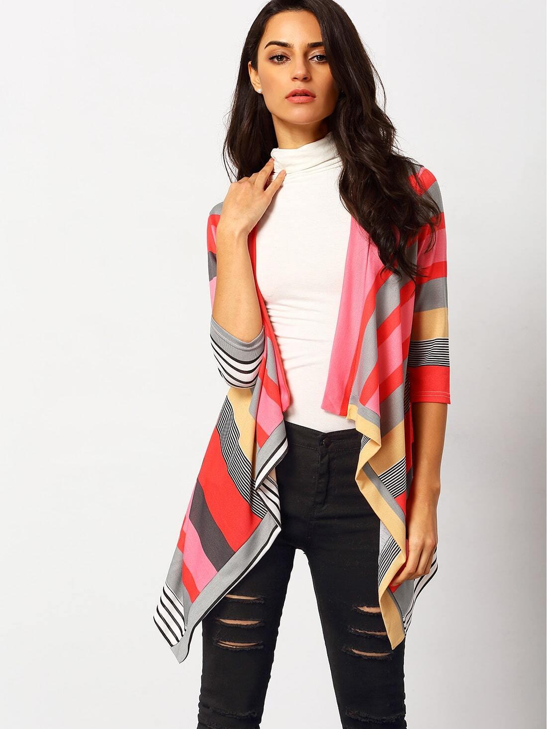 Multicolor Long Sleeve Striped Dip Hem Retro Cardigan