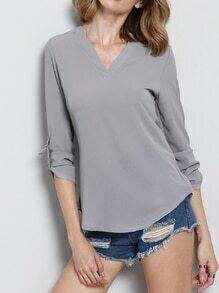 Grey V Neck Dip Hem Blouse