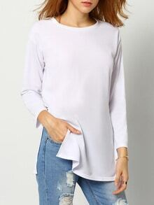 White Long Sleeve Dip Hem Slit Side T-Shirt