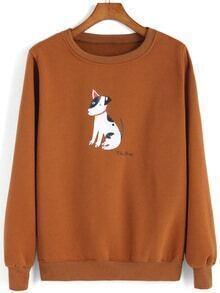 Round Neck Dog Print Sweatshirt