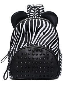 Black Zebra Bead Zipper Backpacks