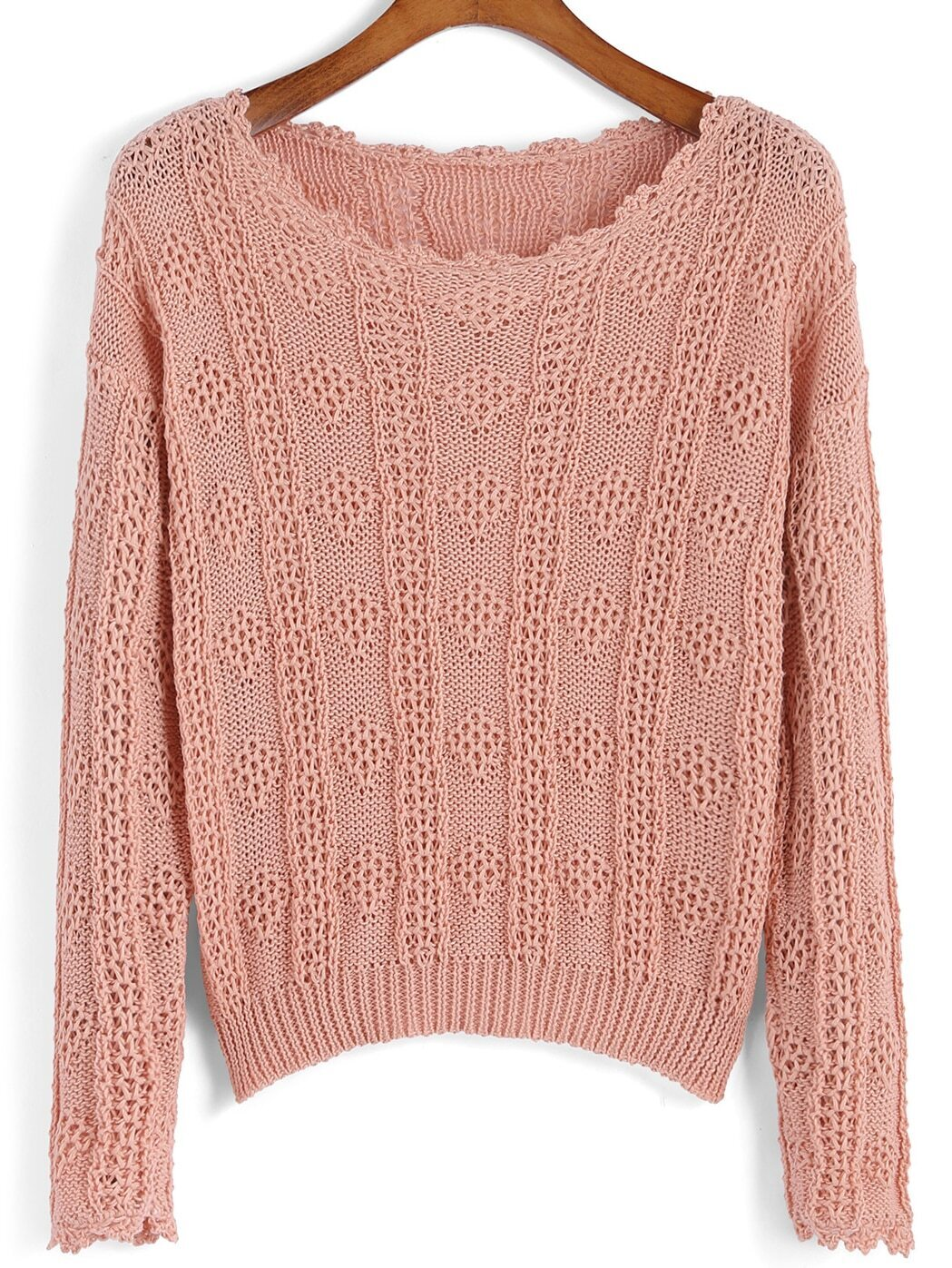 Knitting Sweaters In The Round : Round neck open knit sweaterfor women romwe