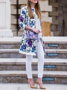White Floral With Button Coat