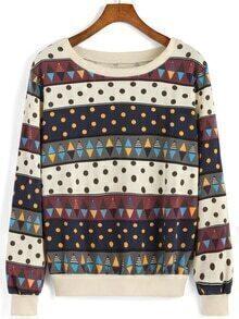 Polka Dot Triangle Print Sweatshirt