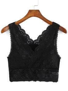 V Neck Lace Black Lingerie