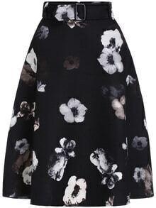 Flower Print A-Line Black Skirt
