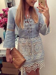 Bell Sleeve Contrast Lace Hollow Denim Dress