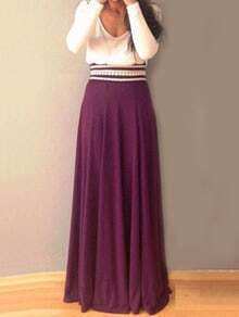 V Neck Long Sleeve Color-block Maxi Dress