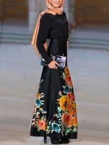 Flower Print Belt Maxi Black Dress