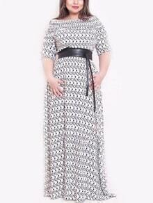 Round Neck Print Plus Maxi Grey Dress