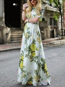 Flower Print Chiffon Maxi Dress