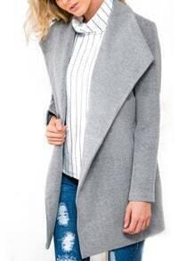 Lapel Belt Pockets Grey Coat