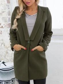 Lapel Single Button Pockets Army Green Coat