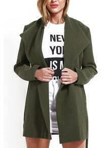 Lapel Belt Pockets Green Coat