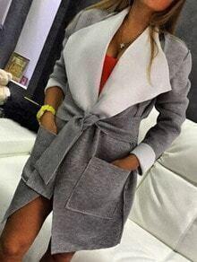 Lapel Belt Pockets Loose Grey Coat