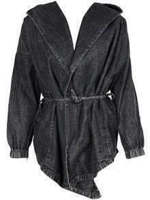 Hooded Pockets Asymmetrical Denim Grey Coat