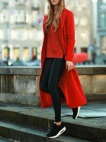 Red Long Sleeve Lapel Coat