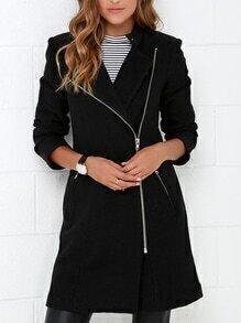 Black Zipper With Button Coat
