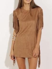 Fringe Bronze Camel Short Sleeve Tassel Dress