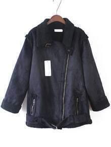 Lapel Zipper Pockets Suede Coat
